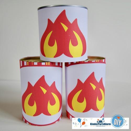 Dosenspiel zum Feuerwehr Kindergeburtstag #kindergeburtstag #geburtstag  #mottoparty #kinderpartyalarm #bastelnmitkindern #diy #einladung #printables #basteln