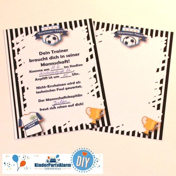 DIY Einladung für den Fussball Kindergeburtstag #entspanntkindergeburtstagfeiern #geburtstag  #mottoparty #kinderpartyalarm #geburtstagsideen #diy #selbermachen #vorlage #download #printable