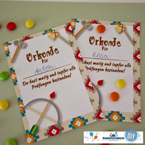 Urkunde zum Indianer Kindergeburtstag basteln #kindergeburtstag #geburtstag  #mottoparty #kinderpartyalarm #bastelnmitkindern #diy #einladung #printables #basteln
