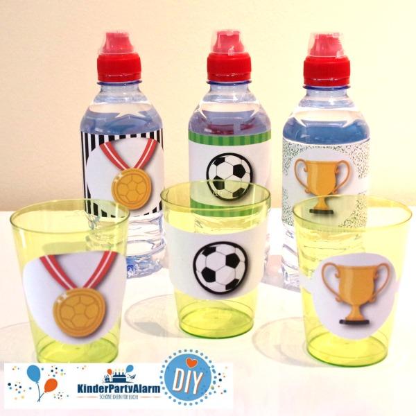 DIY Flaschenetiketten für den Fussball Kindergeburtstag #entspanntkindergeburtstagfeiern #geburtstag  #mottoparty #kinderpartyalarm #geburtstagsideen #diy #selbermachen #vorlage #download #printable