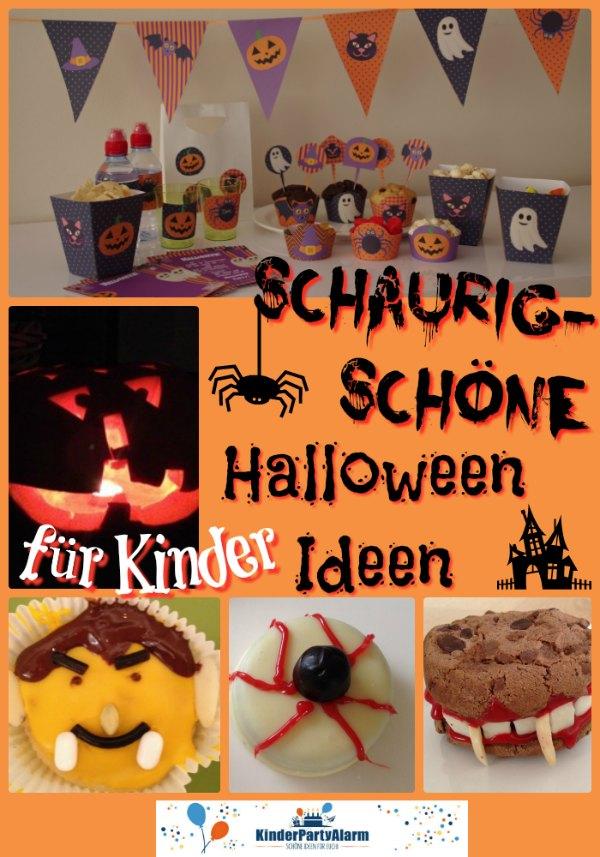 Schaurig schöne Halloween Party Ideen für Kinder auch zum Halloween Kindergeburtstag für Essen, Basteln, Deko ... #kindergeburtstag #mottoparty #kinderpartyalarm #kids #halloweendeko #printables