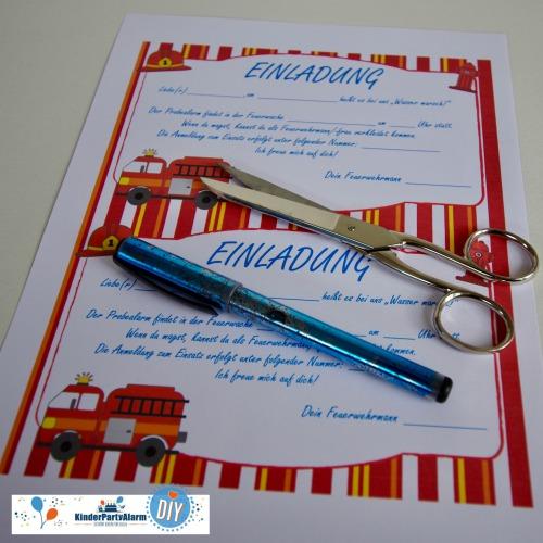 Einladung zum Feuerwehr Kindergeburtstag basteln #kindergeburtstag #geburtstag  #mottoparty #kinderpartyalarm #bastelnmitkindern #diy #einladung #printables #basteln