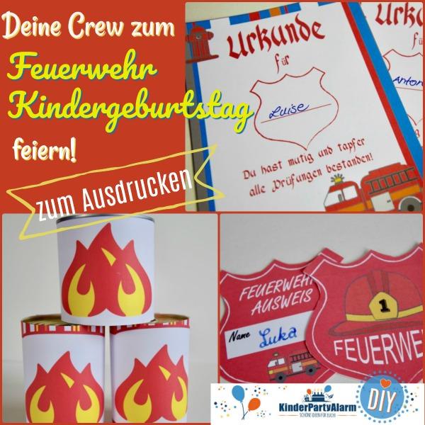 Ausweis, Dosenummantelung und Urkunde zum Feuerwehr Kindergeburtstag #kindergeburtstag #geburtstag  #mottoparty #kinderpartyalarm #bastelnmitkindern #diy #printables #basteln