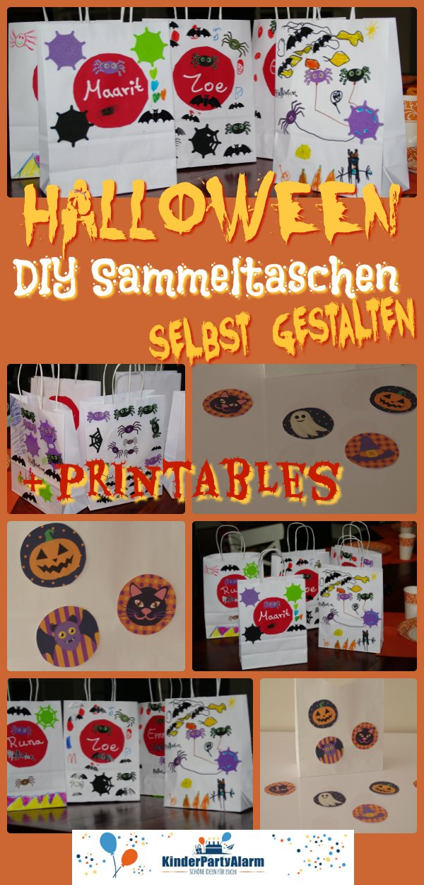 Halloween Sammeltasche gestalten, Basteln bei der Halloween Party #kindergeburtstag #geburtstag  #mottoparty #kinderpartyalarm #bastelnmitkindern #diy #kids #printables