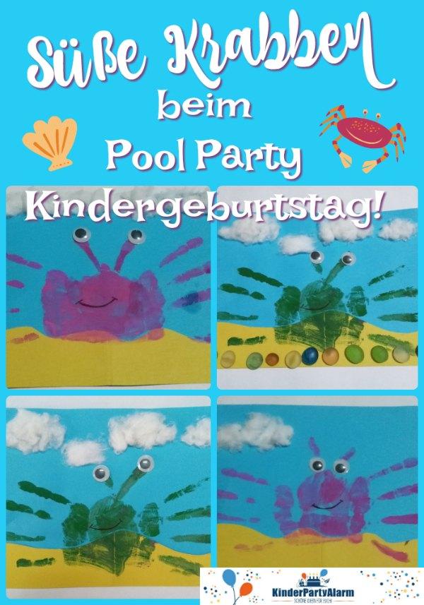 Krabben basteln, Handabdruck Krabbe, Basteln beim Pool Party Geburtstag #kindergeburtstag #geburtstag  #mottoparty #kinderpartyalarm #bastelnmitkindern #handabdruck #poolparty