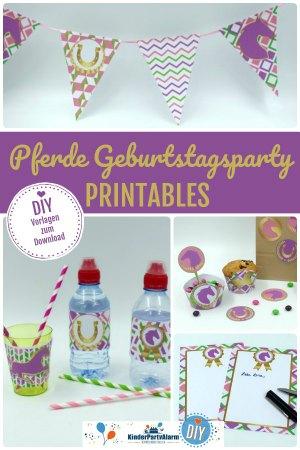 Pferde Party Printables, DIY Deko für deine Pferde Geburtstagsparty - pferde geburtstag deko, diy einladung, pferde party einladung, pferde geburtstag einladung basteln, pferde kindergeburtstag