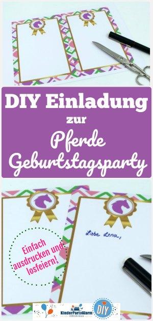 Einladung zum Pferde Kindergeburtstag basteln - pferde geburtstag einladung, diy einladung, pferde party einladung, pferde geburtstag einladung basteln, pferde geburtagsparty einladung basteln