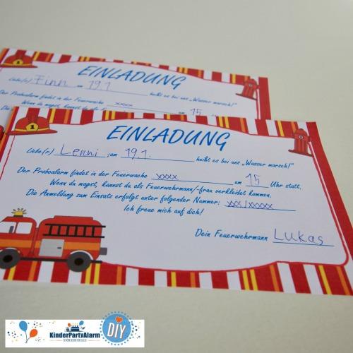 Einladung zum Feuerwehr Kindergeburtstag basteln #kindergeburtstag #geburtstag  #mottoparty #kinderpartyalarm #bastelnmitkindern #diy #einladung #basteln #printables