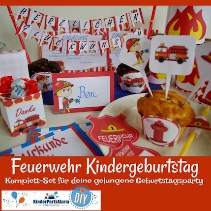 Das Komplett-Set für den Feuerwehr Kindergeburtstag #entspanntkindergeburtstagfeiern #geburtstag  #mottoparty #kinderpartyalarm #geburtstagsideen #diy #selbermachen #vorlage #download #printable