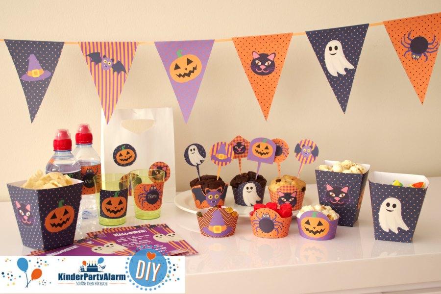 Schaurig schöne Halloween Party Ideen für Kinder auch zum Halloween Kindergeburtstag für Essen, Basteln, Spiele u.v.m. #kindergeburtstag  #mottoparty #kinderpartyalarm #kids #printables #diy