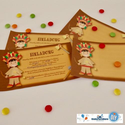 Einladung zum Indianer Kindergeburtstag basteln #kindergeburtstag #geburtstag  #mottoparty #kinderpartyalarm #bastelnmitkindern #diy #einladung #printables #basteln